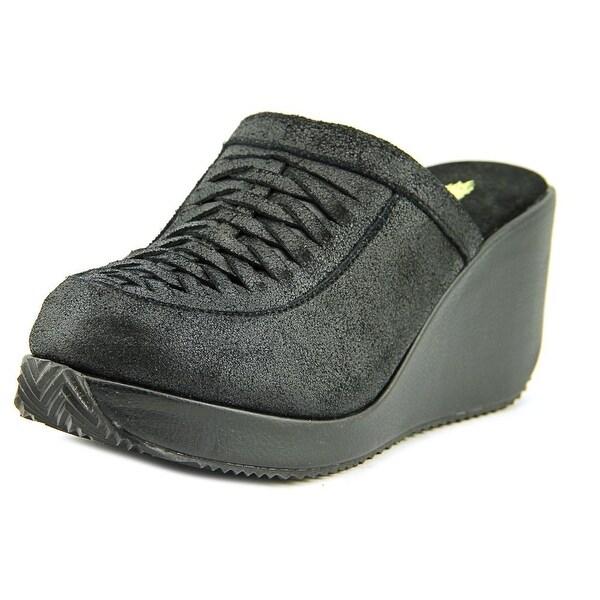 Volatile Striking Women Open Toe Leather Black Wedge Sandal
