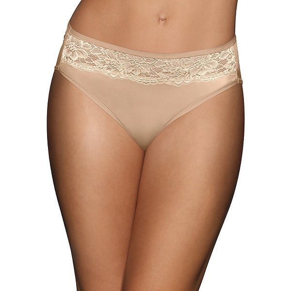 Bali One Smooth U Comfort Indulgence Satin with Lace Hi Cut Panty - Size - 8 - Color - Nude/Lt Beige Lace