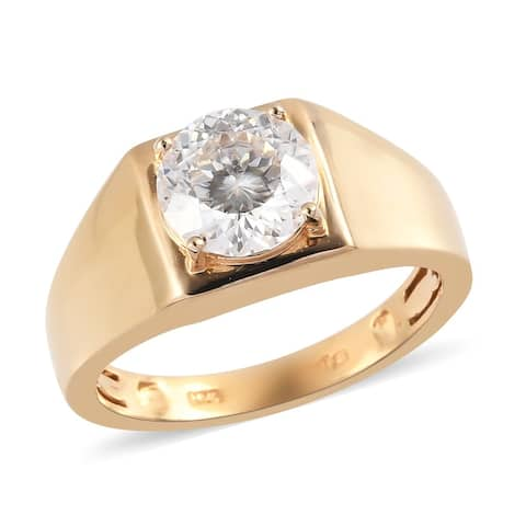 Shop LC 925 Sterling Silver Round Moissanite Ring Vermeil Yellow Gold