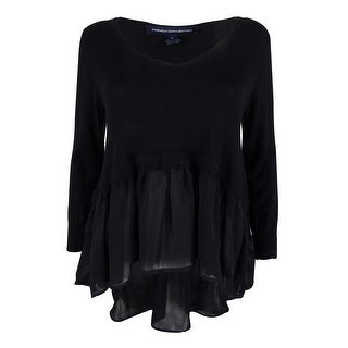 French Connection Women's 3/4 Sleeve Sweater Top - Black - s