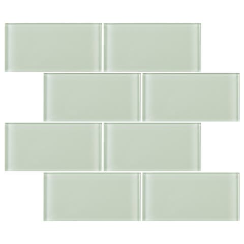 "TileGen. 3"" x 6"" Glass Subway Tile in Mint White Wall Tile (80 tiles/10sqft.)"