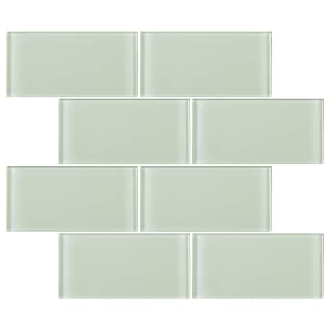 "TileGen. 3"" x 6"" Glass Subway Tile in Mint White Wall Tile (80 tiles/9.2sqft.)"