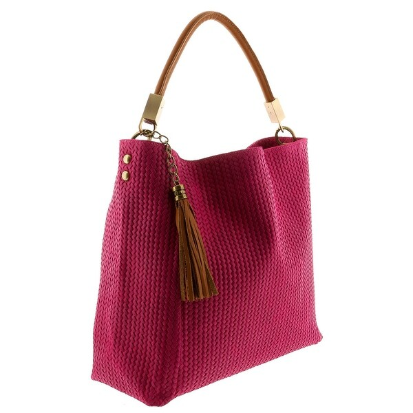HS2070 FU GRAZIA Fuchsia Leather Hobo Shoulder Bag - 14.5-13.5-5.75