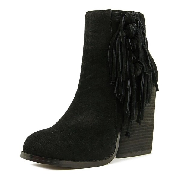 Very Volatile Dream Catch Women Round Toe Suede Black Mid Calf Boot