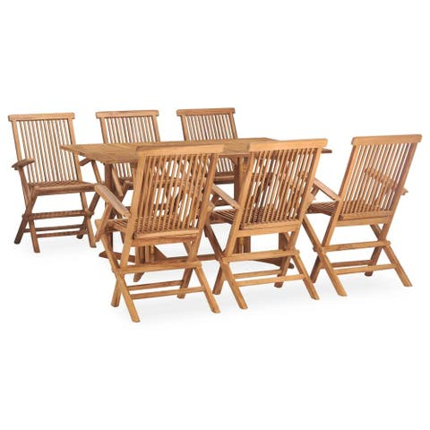 vidaXL 7 Piece Folding Outdoor Dining Set Solid Teak Wood