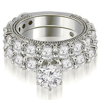 4.00 CT.TW Antique Round Cut Diamond Engagement Set,HI,SI1-2 (More options available)