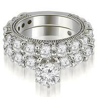 4.40 CT.TW Antique Round Cut Diamond Engagement Set - White H-I