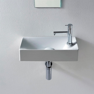 "Nameeks 1501  Scarabeo 17-2/3"" Ceramic Bathroom Sink For Vessel or Wall Mounted Installation - White / One Hole"