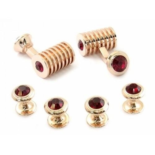 Rose Gold Ruby Red Swarovski Elements Barrel Formal Set