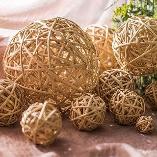 G Home Collection Rustic Decorative Willow Wicker Ball Set of 9