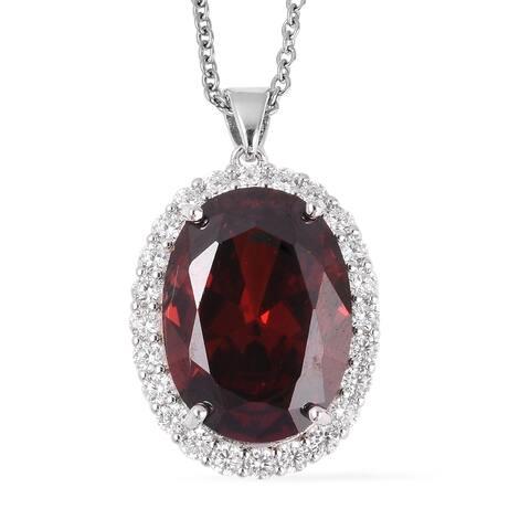 Shop LC Simulated Garnet Diamond Necklace Pendant 20 Inch Ct 18.2 - Size 20''