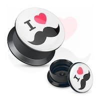"""I Love Mustache"" Print Black Acrylic Flat Screw Fit Plug (Sold Individually)"
