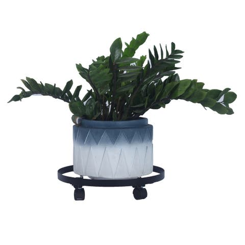 "14"" Metal Plant Caddy Heavy Duty Iron Potted Plant Stand with Wheels - 8' x 10'"