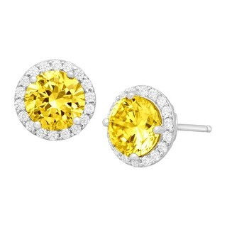 Stud Earrings with Yellow & White Swarovski Zirconia in Sterling Silver