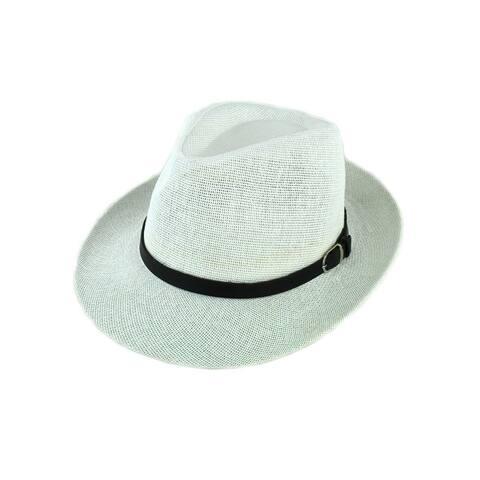 90d1cd2dbe8ab Unisex Summer Panama Straw Fedora Hat Short Brim Beach Sun