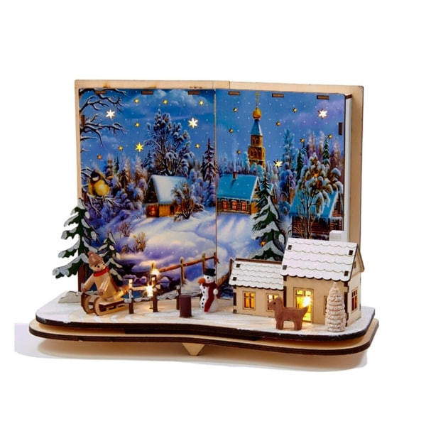 "11"" Storybook Battery Operated Lighted Christmas Village Winter Scene Table Top Decoration - brown"