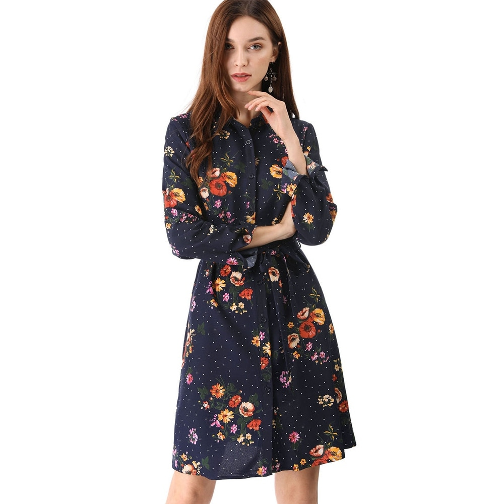Womens Lapel Button Down Belted Above Knee Vintage Polka Dots Floral Shirt Dress