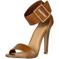 Delicious Womens Vodka Office Dress Ankle Cuff Strap Peep Toe Stiletto Heel Sandals - tan pu - 7.5 b(m) us
