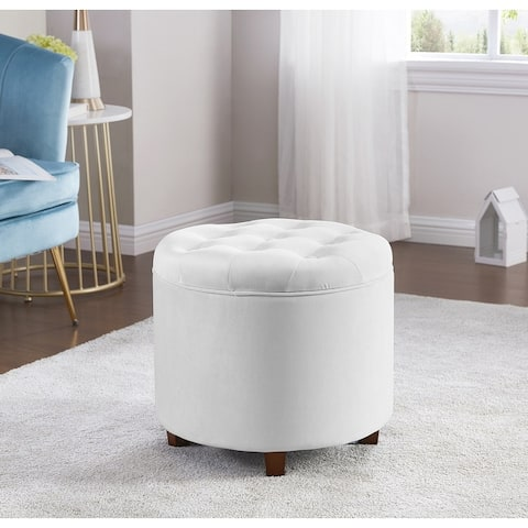 Donovan Round Tufted Velvet Storage Ottoman Foot Rest Stool/Seat with Removable Lid