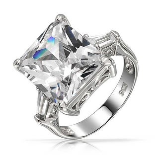 Bling Jewelry .925 Silver Emerald Cut CZ Engagement Ring with Baguette Side Stones