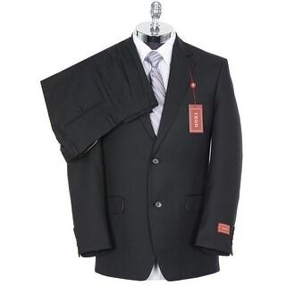 Izod Mens Solid Black 2-Buttons Suit 38R Pleated Pants 31 Waist