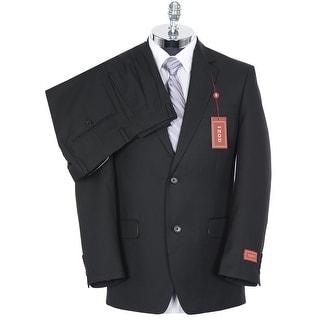 Izod Mens Solid Black 2-Buttons Suit 40R Pleated Pants 33 Waist