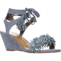 MG35 Haniya Fringe Wedge Sandals, Powder Blue