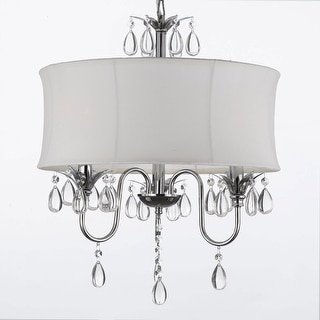 Modern Contemporary White Drum Shade Crystal Plug In Chandelier Lighting Ping The Best Deals On Chandeliers