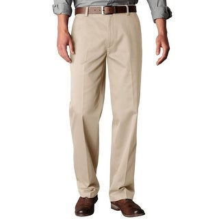 Dockers Signature Khaki Straight Fit Flat Front Chinos Pants Sand 34 x 29