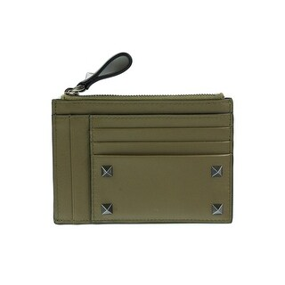 Valentino Army Green Rockstud Leather Cardholder Wallet - One size