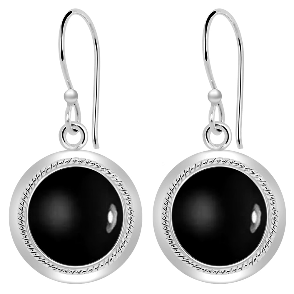 Handmade Jewelry Black Onyx Sterling Silver Overlay Earring 2.5 Latest Design