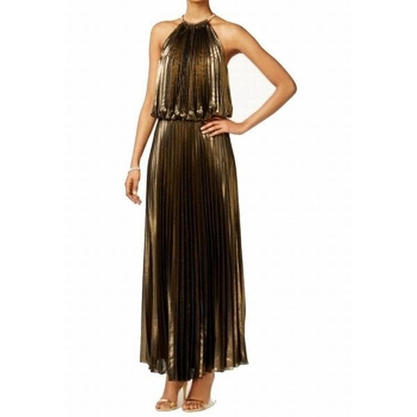 85a151d9c MSK NEW Gold Black Womens Size 12 Metallic Pleated Halter Maxi Dress. Image  Gallery