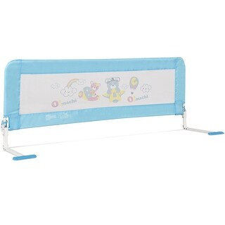 Gymax 59'' Breathable Baby Children Toddlers Bed Rail Guard Safety Swing Down Foamed