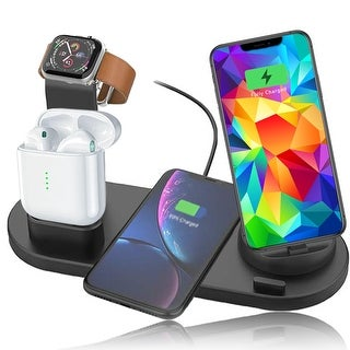 Wireless Charging Dock Station (10W Max) - Rotating Dock (USB C, microUSB & iOS Connector) - iWatch & EarPod Charger