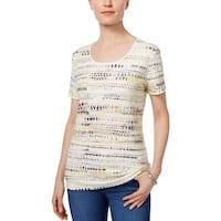 Karen Scott Womens Petites T-Shirt Printed Short Sleeves
