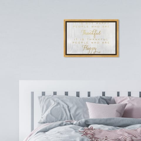 Oliver Gal 'Happy People Script' Typography and Quotes Wall Art Framed Canvas Print Inspirational - Gold, Gray
