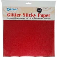 "Red - Satin Glitter Sticky Paper 12""X12"""