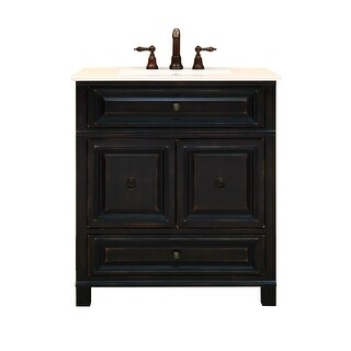 """Sunny Wood BH3021D Barton Hill 30"""" Wood Vanity Cabinet Only - Antique Black"""