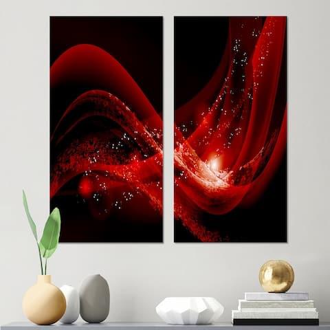 Designart 'Dark Red Vector' Abstract Canvas Wall Art Print 2 Piece Set