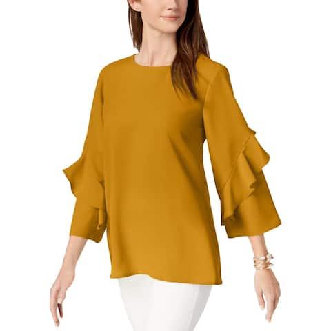 Alfani Women's Ruffled-Sleeve Zip-Back Top, Yellow (XXL)
