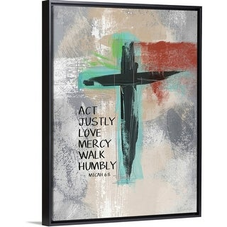 """Micah 68 Cross"" Black Float Frame Canvas Art"