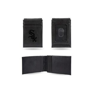 4 Black MLB Chicago White Sox Laser Engraved Front Pocket Wallet N A