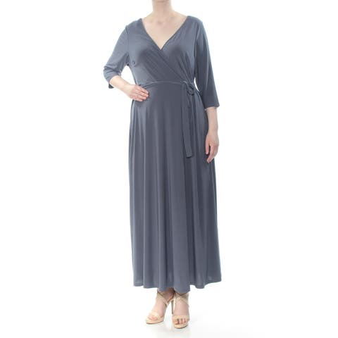 LOVE SQUARED Womens Gray Surplice 3/4 Sleeve V Neck Maxi Dress Plus Size: 2X