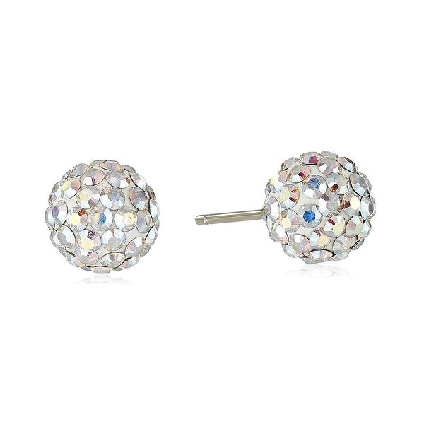 Crystaluxe Colorful Button Stud Earrings with Swarovski Crystals in 14K Gold - Whiskey