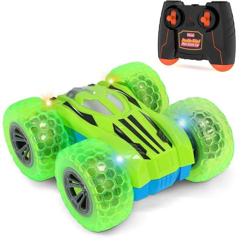 Kidzlane Remote Control Car -Mini Double-Sided Stunt Car - Cool Antics & Tricks - Green