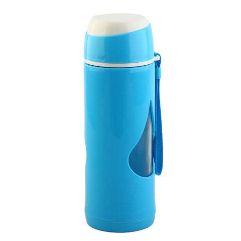 Plastic Sleeve Water Bottle Camping Mug Cup Driving Canteen Kettle Blue 450ml