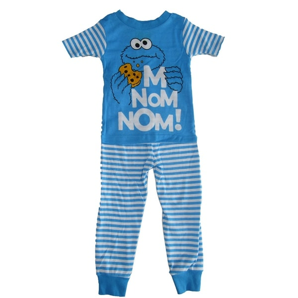 Shop Sesame Street Little Boys White Blue Cookie Monster Short Sleeve Pajama  Set - Free Shipping On Orders Over  45 - Overstock - 19864249 564adcf6d