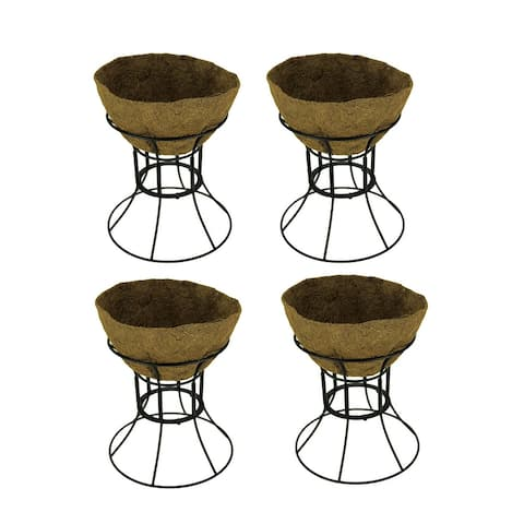 Plastec Black Hose Guide Plant Stand with Coir Liner Set of 4 - 13.5 X 12 X 12 inches