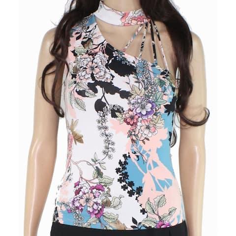 Guess Women Black Size XS Assymetrical Choker Neck Floral Print Tank Top