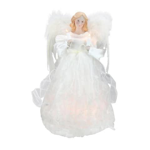 """12"""" Divine Ivory Lighted Angel Christmas Tree Topper - Clear Lights"""